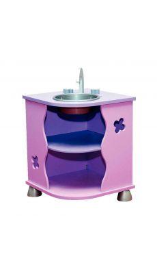 """Meuble coin évier avec rangement """"bonbon"""", rose et violet"""