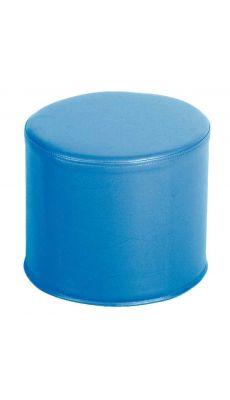 Pouf rond housse PVC bleu