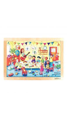 """Puzzle à cadre en bois """"les fêtes d'enfants"""". Composé d'un plateau et de 24 pièces"""