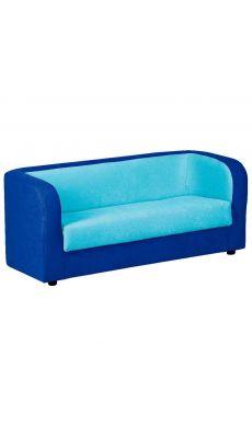 Sofa 3 places tissu 120 x 60 x 55 Bleu foncé et Turquoise