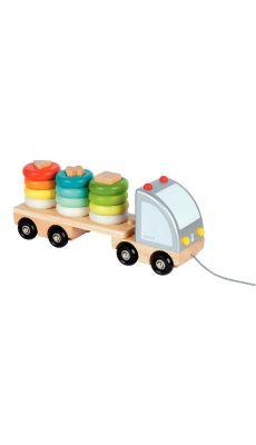 Camion en bois multicolore