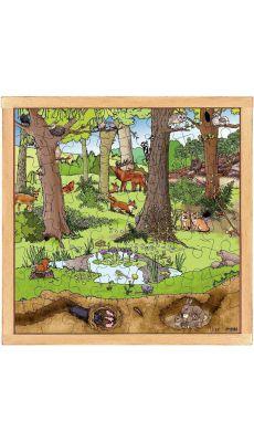 Puzzle d'observation représentant la forêt au printemps / été