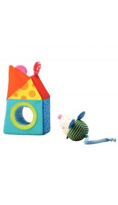"""Hochet en tissu """"la souris et sa maison"""""""