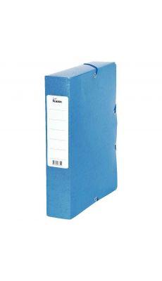 Boite de classement en carte grainée dos 60 mm bleu