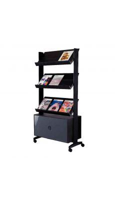 PAPERFLOW - UPP43.01 - Présentoir mobile 3 tablettes noir