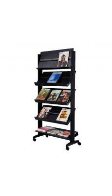 PAPERFLOW - 255N.01 - Présentoir mobille large 5 tablettes noir