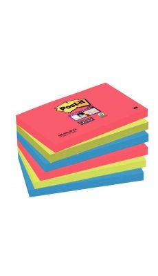 POST-IT - Paquet de 6 blocs de 90 feuilles Super Sticky, 76 x 127 mm, couleurs Vitaminées : coquelicot, vert Néon et bleu océan