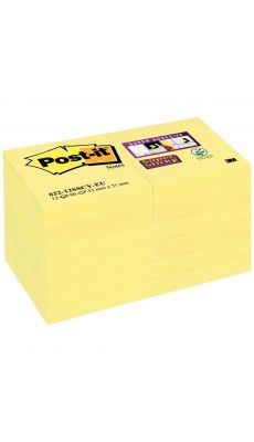 POST-IT - Paquet de 12 blocs de 90 feuilles Super Sticky 51 x 51 mm, couleur : jaune