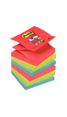 POST -IT - Bloc de Z-Notes Super Sticky Post-it 76x76 mm bora bora - Lot de 6 blocs