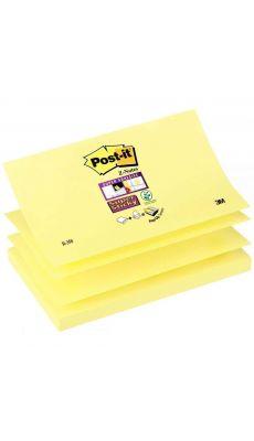 POST-IT - Bloc de 90 feuilles Z-Notes Super Sticky post-it, 76 x 127 mm, couleur : jaune