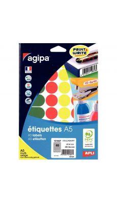 Agipa - 101827 - Pastille adhésif diamètre 24 mm - Couleurs assorties - Etui de 280