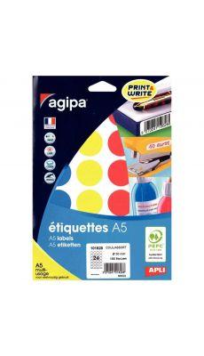 Agipa - 101828 - Pastille adhésif diamètre 30 mm - Couleurs assorties - Etui de 168