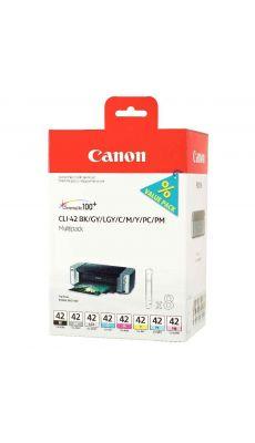 Multipack Canon CLI42 (1 CLI-42BK, 1 CLI-42GY, 1 CLI-42LGY, 1 CLI-42C, 1 CLI-42M, 1 CLI-42Y, 1 CLI-42PC et 1 CLI-42PM)