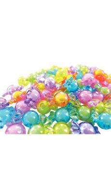 Perles translucide et irisées pastel en plastique en forme de bonbon - Sachet de 60
