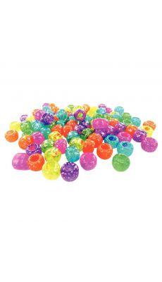 Perles cassis pailletées, couleurs assorties - Sachet de 1000