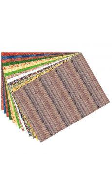 Feuilles de papier 80 g/m² à motifs assortis structure - Paquet de 13