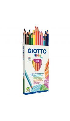 OMYACOLOR - 2206 00 - Etui de 12 crayons de couleur Giotto Mega Tri mine Ø 5.5mm longeur 18cm
