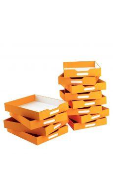 Petits bacs en carton oranges - Lot de 12