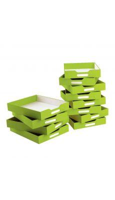 Petits bacs en carton verts - lot de 12