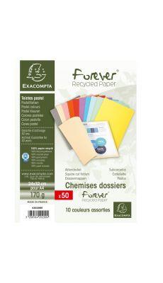Exacompta - 420200E - Chemise 170g FOREVER 180 - Couleurs Assorties - Format 24x32 cm - Paquet de 50