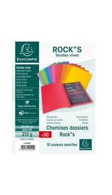 Exacompta - 210500E - Chemise 210g ROCK'S 220 - Couleurs Assorties - Format 24x32 cm - Paquet de 50