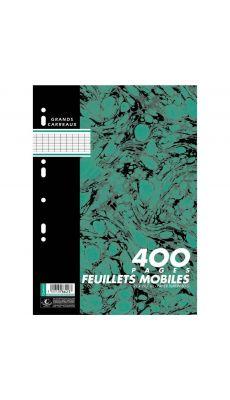 Sachet de 400 pages (200 Feuillets mobiles) format A4 : 21 x 29,7 cm seyes 80 g. Coloris Blanc