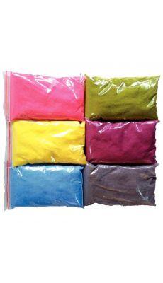 Lot de 6 sacs de 500 gr de sâble coloré + 6 salières vides pastel.