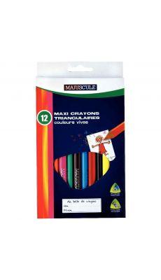 Crayons de couleur triangulaires pointe large assortis - Pochette de 12
