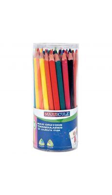 Pot de 48 crayons de couleur triangulaires pointe large assortis