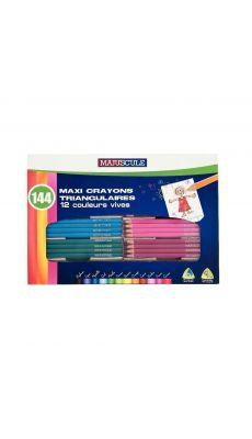 Classpack de 144 crayons de couleur triangulaires pointe large assortis