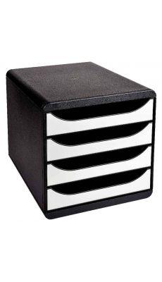 Exacompta - 3104213D - Module 4 tiroirs O Bigbox de couleur noir et blanc glossy