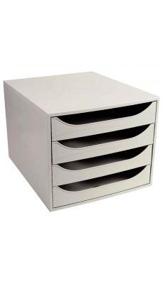 Exacompta - 228606D - Module 4 tiroirs Ecobox de couleur gris.