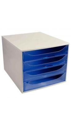 Exacompta - 228610D - Module 4 tiroirs Ecobox de couleur gris et bleu