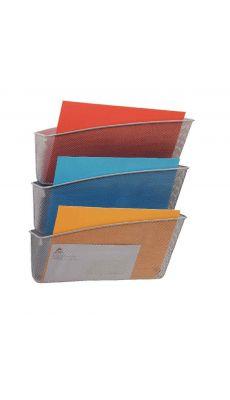 MESH - MESHFILE M - Set de 3 corbeilles murale de couleur gris en métal de la gamme Mesh