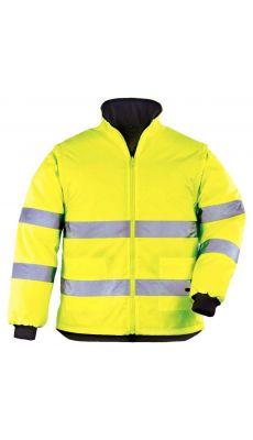 Parka 4 en 1 (avec doublure veste- Veste - Gilet) jaune et bleu marine XL