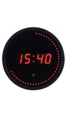 ALBA - HORLED - Horloge murale LED - Noir / Rouge