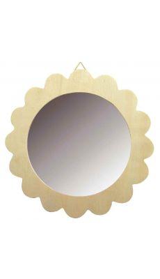Miroirs à suspendre en bois, diamètre 13 cm - Lot de 10
