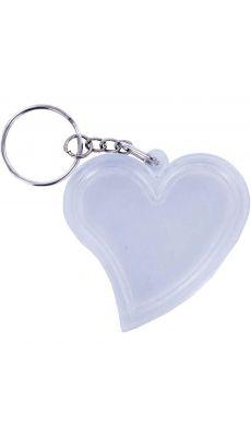 """Porte clés transparents """"coeur"""", en plastique - Lot de 10"""