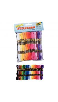 Sachet de 52 échevettes de coton, couleurs assorties