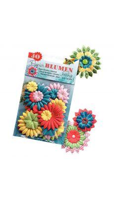 Sachet de 30 fleurs en papier, coloris et formes assorties