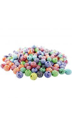 Pot d'environ 750 perles en plastique effet diamantée, coloris assortis