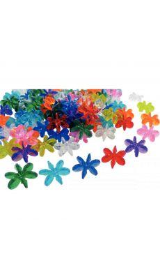 Sachet de 300 perles en plastique forme fleur, Coloris assortis