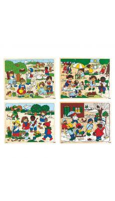 """Puzzles progressifs en bois """"Les 4 saisons"""" - lot de 4"""