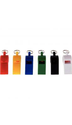 Sifflets en plastique couleur assortie - Boite de 12