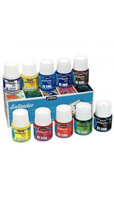 PEBEO - 294000 - Boîte de 10 flacons de 45 ml SETACOLOR, couleurs opaques assorties