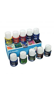PEBEO - 075000 - Boîte de 10 flacons de 45 ml SETACOLOR pour tissus clairs