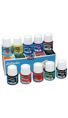 PEBEO - 295000 - Boîte de 10 flacons de 45 ml SETACOLOR effet daim