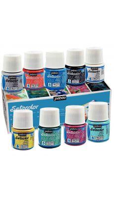 PEBEO - 329000 - Boîte de 10 flacons de 45 ml SETACOLOR effet pailleté