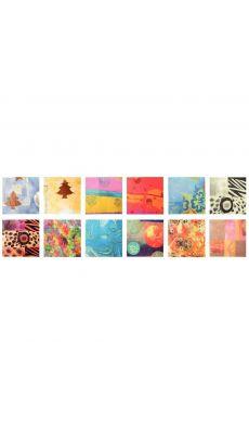 Pochette de 96 feuilles de papier déco pour collage, format : 32x40 cm, 12 motifs assortis