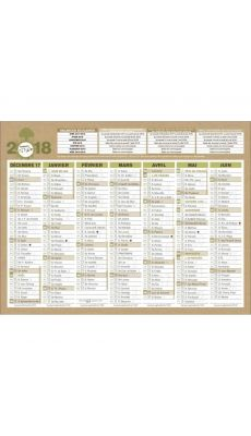 Bouchut grandremy  - Calendrier 7 mois sur chaque face Natura 13.5x17.5 cm